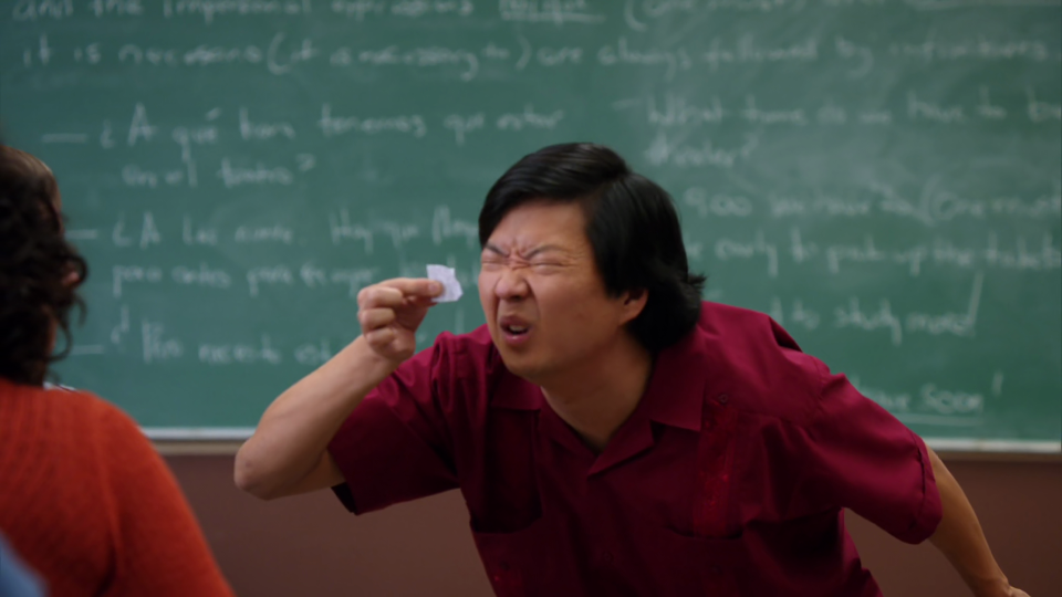 Chang trying to make out an unreadable name